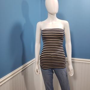 Wet Seal striped tube tank top black beige small